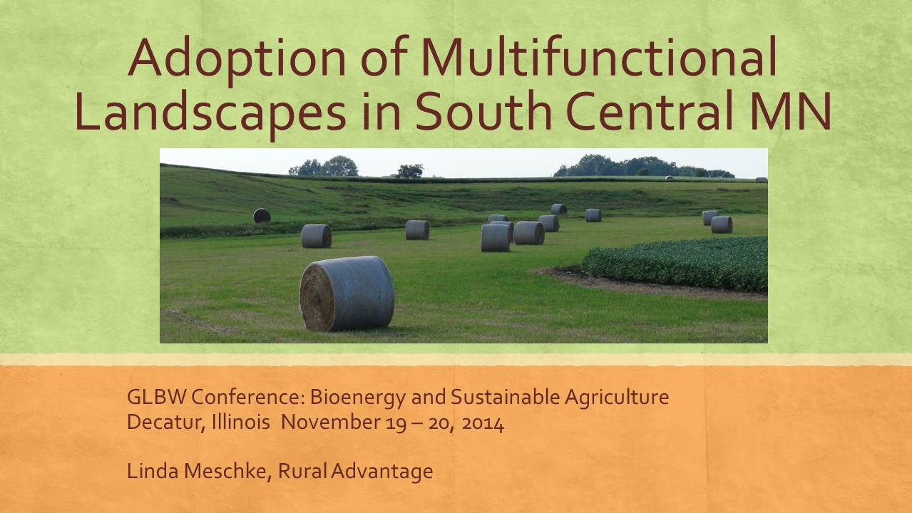 cover image from Southern MN Multifunctional Landscapes presentation by Linda Meschke 2014